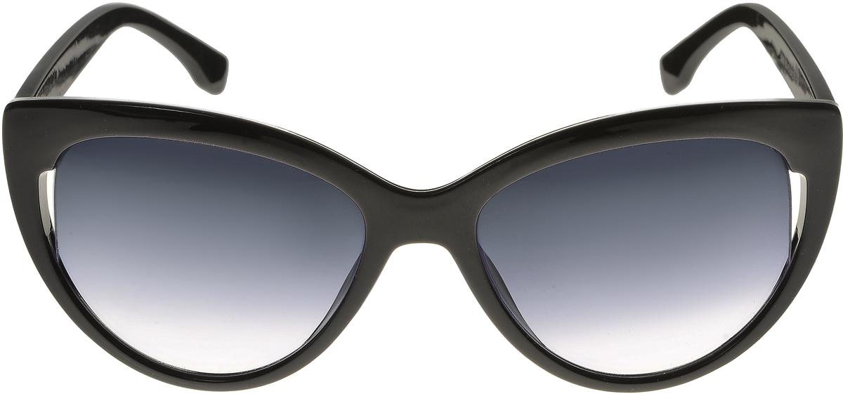 Очки солнцезащитные женские Vittorio Richi, цвет: черный. ОС5006с80-10/17fINT-06501Элегантные солнцезащитные очки Vittorio Richi выполнены из высококачественного пластика. Пластик используемый при изготовлении линз не искажает изображение, не подвержен нагреванию и вредному воздействию солнечных лучей. Оправа очков легкая, прилегающей формы и поэтому обеспечивает максимальный комфорт. Такие очки защитят глаза от ультрафиолетовых лучей, подчеркнут вашу индивидуальность и сделают ваш образ завершенным.