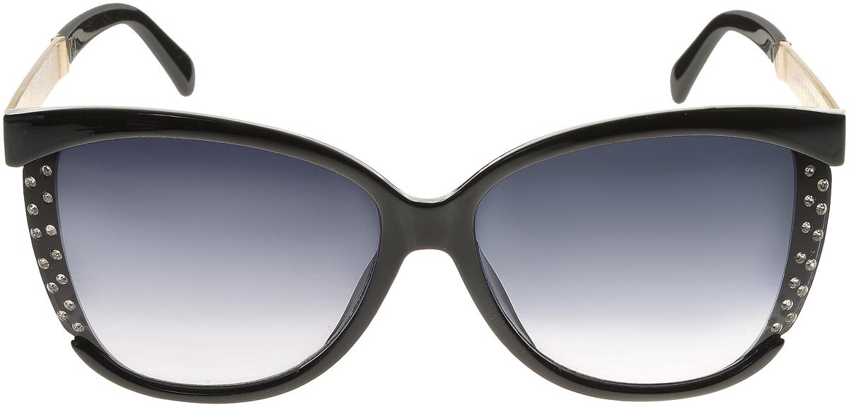 Очки солнцезащитные женские Vittorio Richi, цвет: черный. OC2065с80-10/17fINT-06501Солнцезащитные очки Vittorio Richi выполнены из высококачественного пластика и металла, декорированы стразами. Пластик используемый при изготовлении линз не искажает изображение, не подвержен нагреванию и вредному воздействию солнечных лучей. Оправа очков легкая, прилегающей формы и поэтому обеспечивает максимальный комфорт. Такие очки защитят глаза от ультрафиолетовых лучей, подчеркнут вашу индивидуальность и сделают ваш образ завершенным.