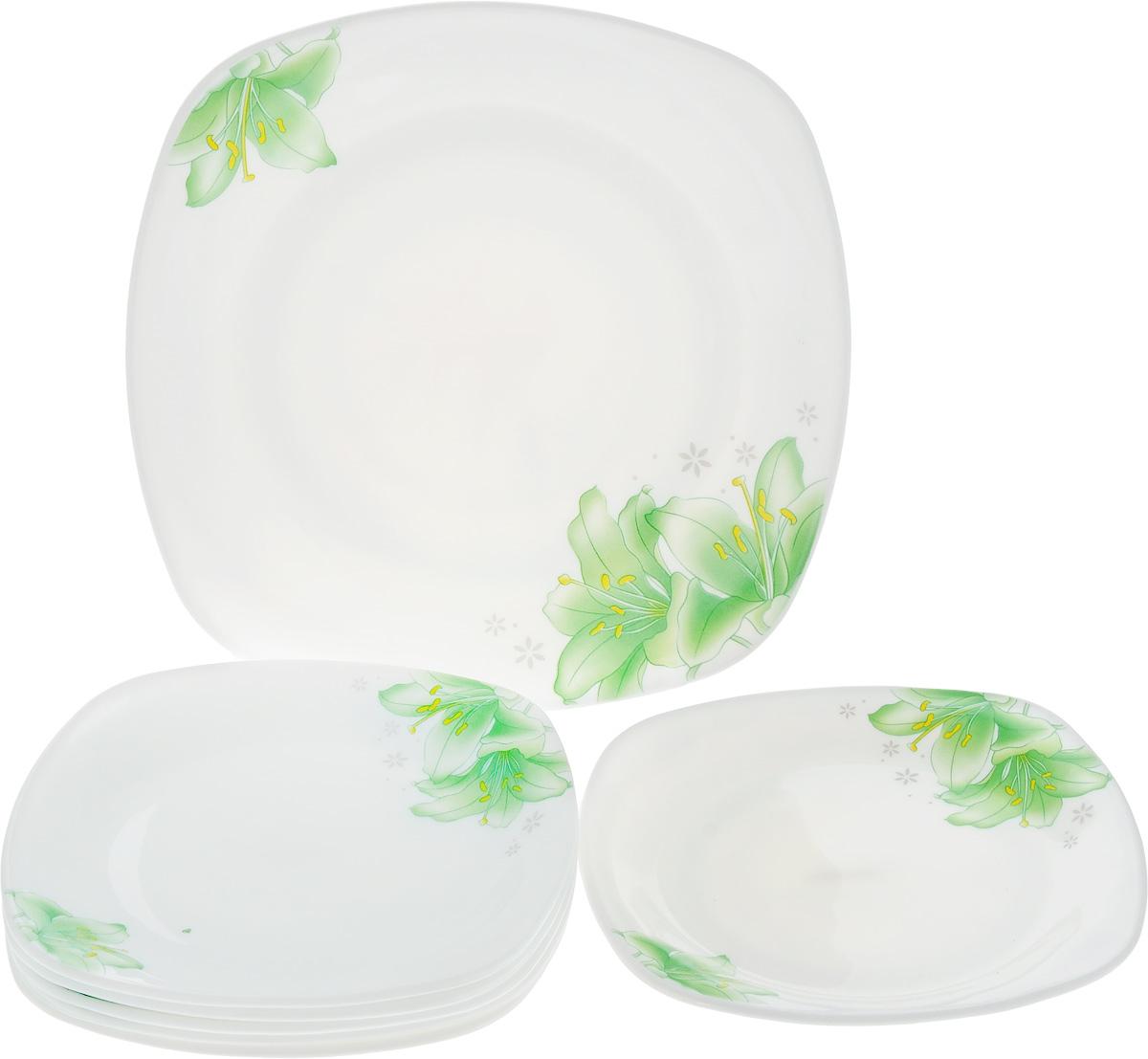 Набор тарелок Loraine, 7 шт. 23689550221 3067Набор Loraine состоит из 6 десертных тарелок и 1 блюда. Изделия, выполненные из прочного стекла, оформлены ярким рисунком цветов и имеют квадратную форму. Посуда отличается прочностью, гигиеничностью и долгим сроком службы, она устойчива к появлению царапин и резким перепадам температур. Такой набор прекрасно подойдет как для повседневного использования, так и для праздников или особенных случаев. Можно мыть в посудомоечной машине и использовать в микроволновой печи. Размер блюда: 26 х 26 х 3 см. Размер десертной тарелки: 19 х 19 х 2 см.