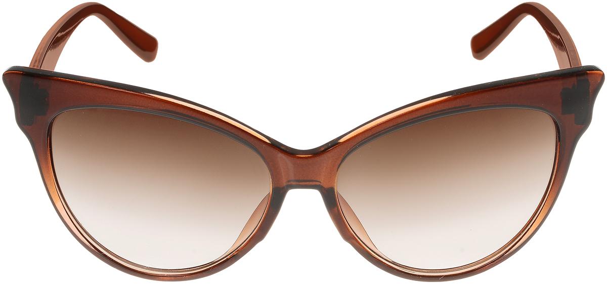 Очки солнцезащитные женские Vittorio Richi, цвет: коричневый. ОС5010с82-21-12/17fINT-06501Солнцезащитные очки Vittorio Richi выполнены из высококачественного пластика. Пластик используемый при изготовлении линз не искажает изображение, не подвержен нагреванию и вредному воздействию солнечных лучей. Оправа очков легкая, прилегающей формы и поэтому обеспечивает максимальный комфорт. Такие очки защитят глаза от ультрафиолетовых лучей, подчеркнут вашу индивидуальность и сделают ваш образ завершенным.