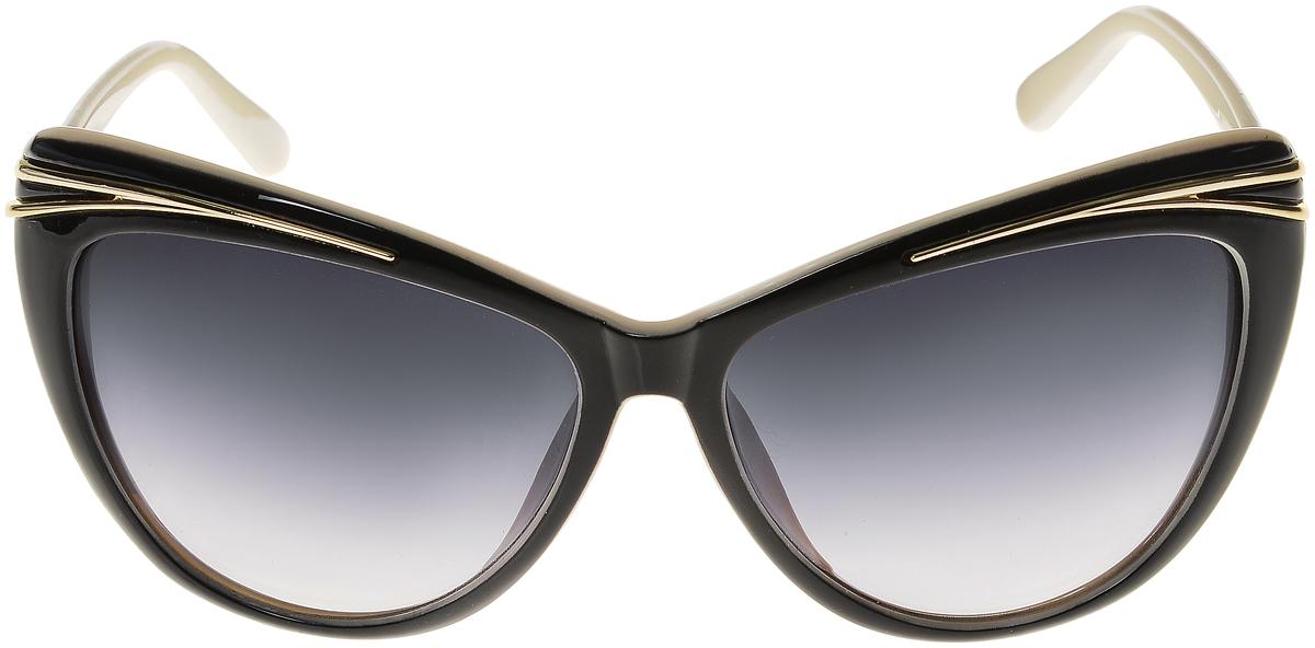 Очки солнцезащитные женские Vittorio Richi, цвет: черный, слоновая кость. ОС5044с80-13/17fINT-06501Солнцезащитные очки Vittorio Richi выполнены из высококачественного пластика. Пластик используемый при изготовлении линз не искажает изображение, не подвержен нагреванию и вредному воздействию солнечных лучей. Оправа очков легкая, прилегающей формы и поэтому обеспечивает максимальный комфорт. Такие очки защитят глаза от ультрафиолетовых лучей, подчеркнут вашу индивидуальность и сделают ваш образ завершенным.