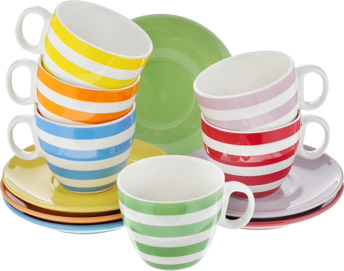 Набор чайный Loraine, 12 предметов. 24241115510Набор Loraine, состоящий из 6 чашек и 6 блюдец, изготовлен из высококачественной керамики с глазурованным покрытием. Чашки оформлены принтом в полоску, блюдца - однотонные. Изящный дизайн придется по вкусу и ценителям классики, и тем, кто предпочитает утонченность и изысканность. Он настроит на позитивный лад и подарит хорошее настроение с самого утра. Можно использовать в микроволновой печи и мыть в посудомоечной машине. Диаметр чашки (по верхнему краю): 7,5 см. Высота чашки: 7 см. Объем чашки: 220 мл. Диаметр блюдца: 14 см. Высота блюдца: 2 см.