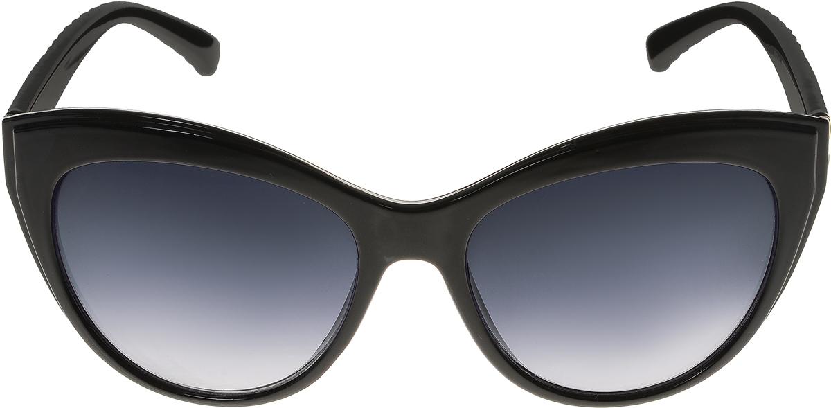 Очки солнцезащитные женские Vittorio Richi, цвет: черный. OC8067c80-10/17fINT-06501Солнцезащитные очки Vittorio Richi выполнены из высококачественного пластика. Пластик используемый при изготовлении линз не искажает изображение, не подвержен нагреванию и вредному воздействию солнечных лучей. Оправа очков легкая, прилегающей формы и поэтому обеспечивает максимальный комфорт. Такие очки защитят глаза от ультрафиолетовых лучей, подчеркнут вашу индивидуальность и сделают ваш образ завершенным.