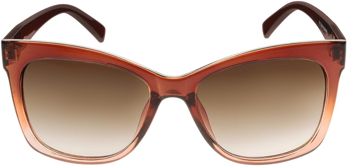 Очки солнцезащитные женские Vittorio Richi, цвет: коричневый. ОС5011с82-21-12/17fBM8434-58AEЭлегантные солнцезащитные очки Vittorio Richi выполнены из высококачественного пластика и металла. Пластик используемый при изготовлении линз не искажает изображение, не подвержен нагреванию и вредному воздействию солнечных лучей. Оправа очков легкая, прилегающей формы и поэтому обеспечивает максимальный комфорт.Такие очки защитят глаза от ультрафиолетовых лучей, подчеркнут вашу индивидуальность и сделают ваш образ завершенным.