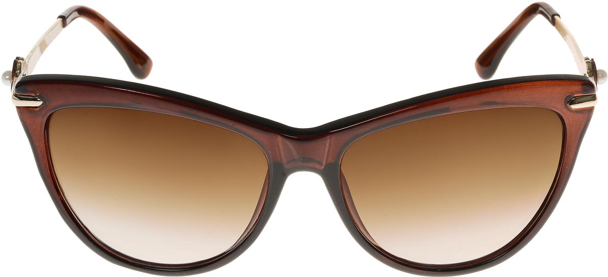 Очки солнцезащитные женские Vittorio Richi, цвет: коричневый. ОС1636с2/17fINT-06501Элегантные солнцезащитные очки Vittorio Richi выполнены из высококачественного пластика и металла. Пластик используемый при изготовлении линз не искажает изображение, не подвержен нагреванию и вредному воздействию солнечных лучей. Оправа очков легкая, прилегающей формы и поэтому обеспечивает максимальный комфорт. Такие очки защитят глаза от ультрафиолетовых лучей, подчеркнут вашу индивидуальность и сделают ваш образ завершенным.