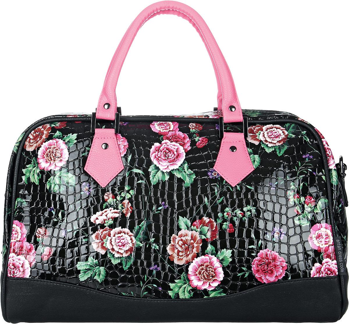 Сумка женская Аntan, цвет: черный, розовый. 4670018861533BM8434-58AEСтильная женская сумка Аntanвыполнена из искусственной кожи. Изделие имеет одно отделение, закрывающееся на застежку-молнию. Внутри сумки находится прорезной карман на застежке-молнии. Модель оснащена двумя удобными ручками и съемным плечевым ремнем.