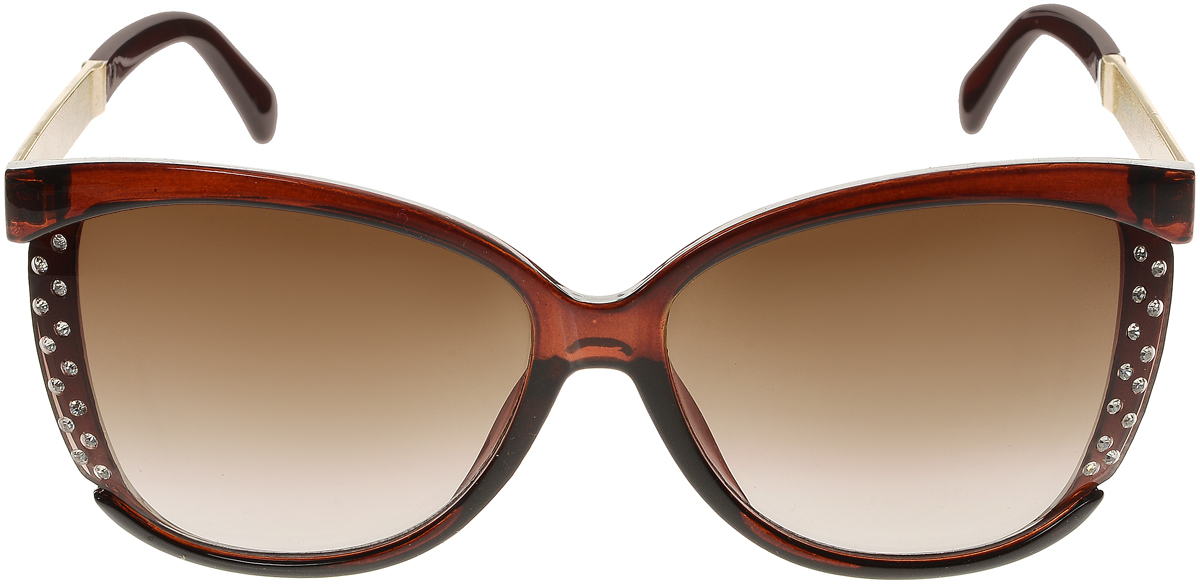 Очки солнцезащитные женские Vittorio Richi, цвет: коричневый. OC2065с81-11/17fINT-06501Элегантные солнцезащитные очки Vittorio Richi выполнены из высококачественного пластика и металла, декорированы стразами. Пластик используемый при изготовлении линз не искажает изображение, не подвержен нагреванию и вредному воздействию солнечных лучей. Оправа очков легкая, прилегающей формы и поэтому обеспечивает максимальный комфорт. Такие очки защитят глаза от ультрафиолетовых лучей, подчеркнут вашу индивидуальность и сделают ваш образ завершенным.