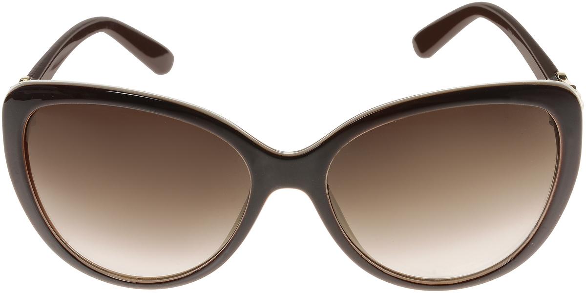 Очки солнцезащитные женские Vittorio Richi, цвет: темно-коричневый, молочный. ОС2062с82-12-9/17fINT-06501Элегантные солнцезащитные очки Vittorio Richi выполнены из высококачественного пластика и металла, декорированы стразами. Пластик используемый при изготовлении линз не искажает изображение, не подвержен нагреванию и вредному воздействию солнечных лучей. Оправа очков легкая, прилегающей формы и поэтому обеспечивает максимальный комфорт. Такие очки защитят глаза от ультрафиолетовых лучей, подчеркнут вашу индивидуальность и сделают ваш образ завершенным.