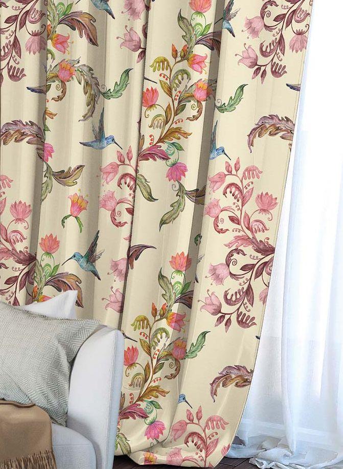 Штора Волшебная ночь Hummingbird, на ленте, цвет: зеленый, бежевый, красный,высота 270 см704533Шторы коллекции Волшебная ночь - это готовое решение для интерьера, гарантирующее красоту, удобство и индивидуальный стиль! Штора изготовлена из приятной на ощупь ткани габардин, которая плотно драпирует окно, но позволяет свету частично проникать внутрь. Длина шторы регулируется с помощью клеевой паутинки (в комплекте). Изделие крепится на вшитую шторную ленту: на крючки или путем продевания на карниз.