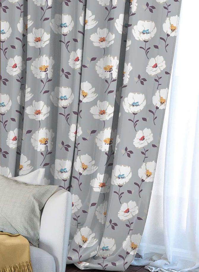 Штора Волшебная ночь Chamomile, на ленте, цвет: серый, высота 270 см704562Шторы коллекции Волшебная ночь - это готовое решение для интерьера, гарантирующее красоту, удобство и индивидуальный стиль! Штора изготовлена из приятной на ощупь ткани габардин, которая плотно драпирует окно, но позволяет свету частично проникать внутрь. Длина шторы регулируется с помощью клеевой паутинки (в комплекте). Изделие крепится на вшитую шторную ленту: на крючки или путем продевания на карниз.