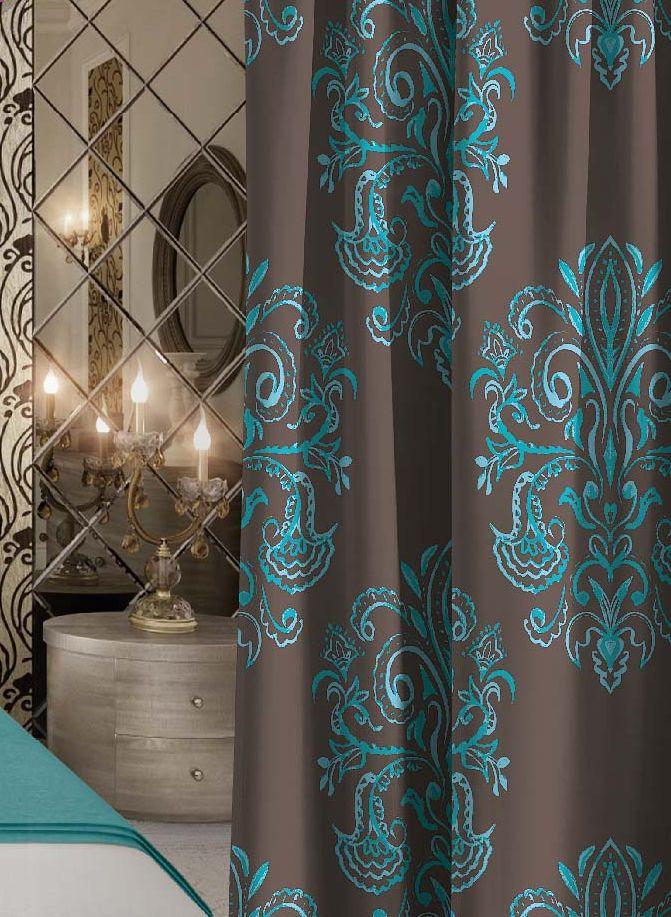 Штора Волшебная ночь Emerald Tale, на ленте, цвет: коричневый, голубой, высота 270 смS03301004Шторы коллекции Волшебная ночь - это готовое решение для интерьера, гарантирующее красоту, удобство и индивидуальный стиль! Штора изготовлена из приятной на ощупь ткани габардин, которая плотно драпирует окно, но позволяет свету частично проникать внутрь. Длина шторы регулируется с помощью клеевой паутинки (в комплекте). Изделие крепится на вшитую шторную ленту: на крючки или путем продевания на карниз.