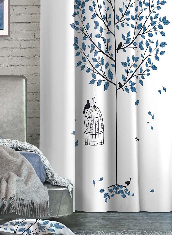 Штора Волшебная ночь Dove, на ленте, цвет: черный, синий, белый, высота 270 см. 705535705535Шторы коллекции Волшебная ночь - это готовое решение для интерьера, гарантирующее красоту, удобство и индивидуальный стиль! Штора изготовлена из мягкой, приятной на ощупь ткани сатен, которая обеспечивает частичное затемнение и легко драпируется. Длина шторы регулируется с помощью клеевой паутинки (в комплекте). Изделие крепится на вшитую шторную ленту: на крючки или путем продевания на карниз.