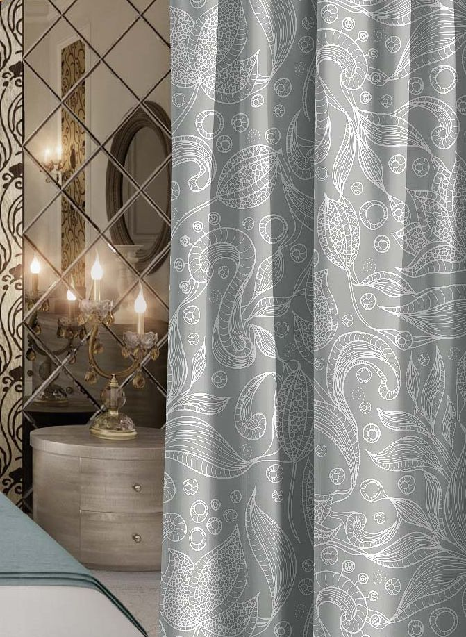 Штора Волшебная ночь Harmonic, на ленте, цвет: серый, светло-серый, высота 270 см. 7055301004900000360Шторы коллекции Волшебная ночь - это готовое решение для интерьера, гарантирующее красоту, удобство и индивидуальный стиль! Штора изготовлена из мягкой, приятной на ощупь ткани сатен, которая обеспечивает частичное затемнение и легко драпируется. Длина шторы регулируется с помощью клеевой паутинки (в комплекте). Изделие крепится на вшитую шторную ленту: на крючки или путем продевания на карниз.