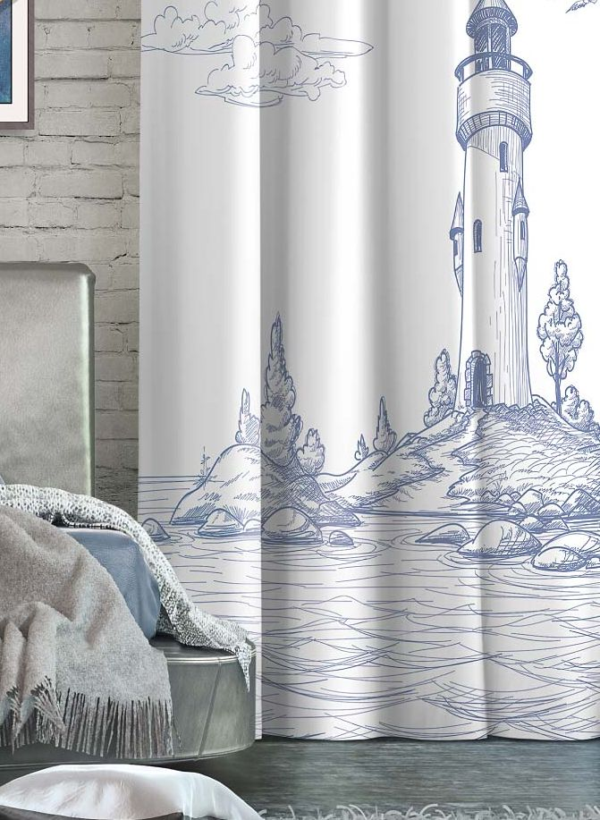 Штора Волшебная ночь Lighthouse, на ленте, цвет: серо-голубой, белый, высота 270 см. 705533956251325Шторы коллекции Волшебная ночь - это готовое решение для интерьера, гарантирующее красоту, удобство и индивидуальный стиль! Штора изготовлена из мягкой, приятной на ощупь ткани сатен, которая обеспечивает частичное затемнение и легко драпируется. Длина шторы регулируется с помощью клеевой паутинки (в комплекте). Изделие крепится на вшитую шторную ленту: на крючки или путем продевания на карниз.