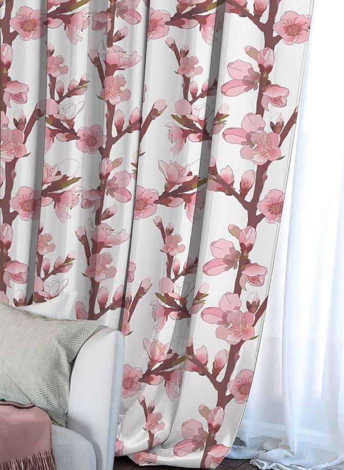 Штора Волшебная ночь Сherry Blossoms, на ленте, цвет: коричневый, розовый, белый, высота 270 см. 704482704482Шторы коллекции Волшебная ночь - это готовое решение для вашего интерьера, гарантирующее красоту, удобство и индивидуальный стиль! Штора изготовлена из мягкой, приятной на ощупь ткани сатен, которая обеспечивает частичное затемнение и легко драпируется. Длина шторы регулируется с помощью клеевой паутинки (в комплекте). Изделие крепится на вшитую шторную ленту: на крючки или путем продевания на карниз. Дизайнеры марки Волшебная ночь предлагают уже сформированные комплекты штор из различных тканей и рисунков для создания идеальной композиции на окне. Для удобства выбора дизайны штор распределены в стилевые коллекции: этно, версаль, лофт, прованс. В коллекции Волшебная ночь к данной шторе вы также сможете подобрать шторы из других тканей: блэкаут (100% затемнение), габардин (частичное затемнение) и вуаль (практически нулевое затемнение), которые будут прекрасно сочетаться по дизайну и обеспечат особый уют вашему дому.