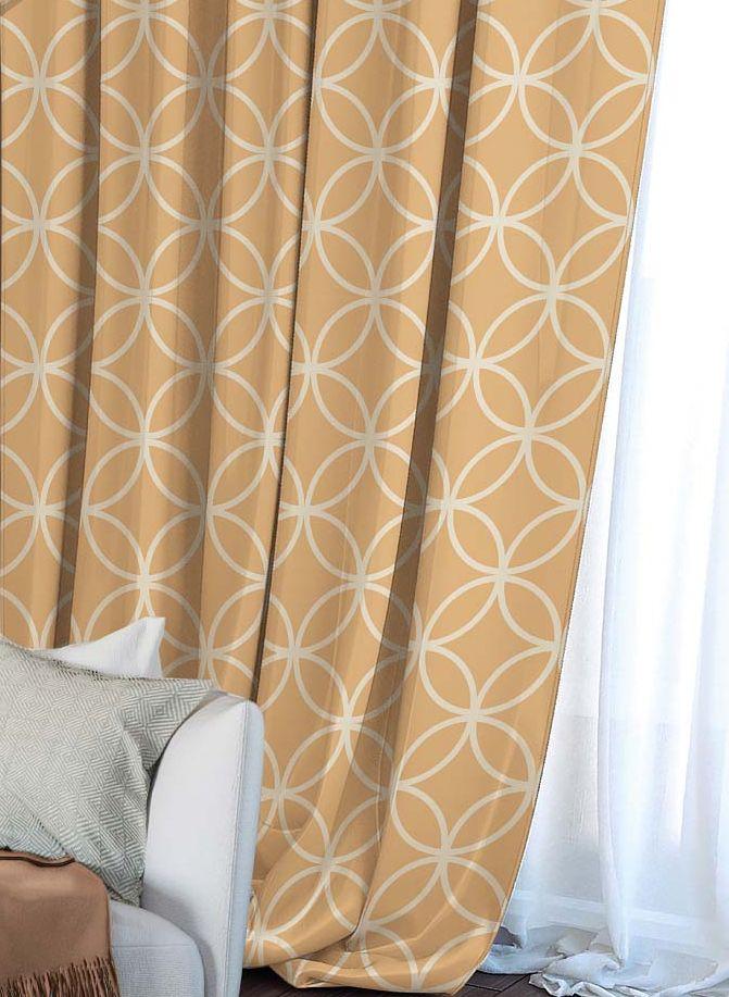 Штора Волшебная ночь Chocolate Mandarin, на ленте, цвет: светло-коричневый, высота 270 см. 704485DW90Шторы коллекции Волшебная ночь - это готовое решение для интерьера, гарантирующее красоту, удобство и индивидуальный стиль! Штора изготовлена из мягкой, приятной на ощупь ткани сатен, которая обеспечивает частичное затемнение и легко драпируется. Длина шторы регулируется с помощью клеевой паутинки (в комплекте). Изделие крепится на вшитую шторную ленту: на крючки или путем продевания на карниз.