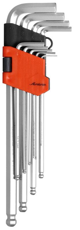 Набор ключей шестигранных Airline, удлиненных, с шаром, 1,5 мм - 10 мм, 9 шт67361Набор Airline состоит из 9 удлиненных шестигранных ключей с шаром выполненных из хром-ванадиевой стали. Ключи в процессе производства подвергается закалке и отпуску и имеют финишное покрытие - хромирование.Удобный пластиковый подвес гарантирует порядок на рабочем месте.В набор входят ключи: 1,5 мм, 2 мм, 2,5 мм, 3 мм, 4 мм, 5 мм, 6 мм, 8 мм, 10 мм.
