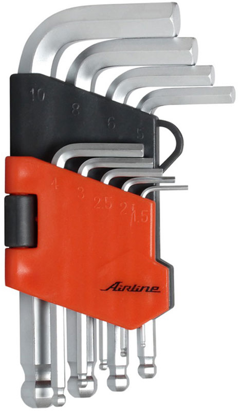 Набор ключей шестигранных Airline, коротких, с шаром, 1,5 мм - 10 мм, 9 шт59380Набор Airline состоит из 9 коротких шестигранных ключей с шаром выполненных из хром-ванадиевой стали. Ключи в процессе производства подвергается закалке и отпуску и имеют финишное покрытие - хромирование.Удобный пластиковый подвес гарантирует порядок на рабочем месте.В набор входят ключи: 1,5 мм, 2 мм, 2,5 мм, 3 мм, 4 мм, 5 мм, 6 мм, 8 мм, 10 мм.