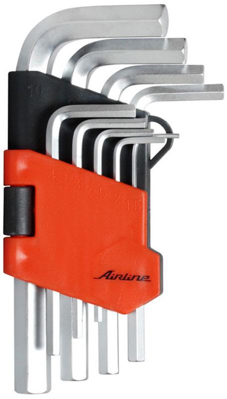 Набор ключей шестигранных Airline, коротких, 1,5 мм - 10 мм, 9 шт13840Набор Airline состоит из 9 коротких шестигранных ключей выполненных из хром-ванадиевой стали. Ключи в процессе производства подвергается закалке и отпуску и имеют финишное покрытие – хромирование.Удобный пластиковый подвес гарантирует порядок на рабочем месте.В набор входят ключи: 1,5 мм, 2 мм, 2,5 мм, 3 мм, 4 мм, 5 мм, 6 мм, 8 мм, 10 мм.