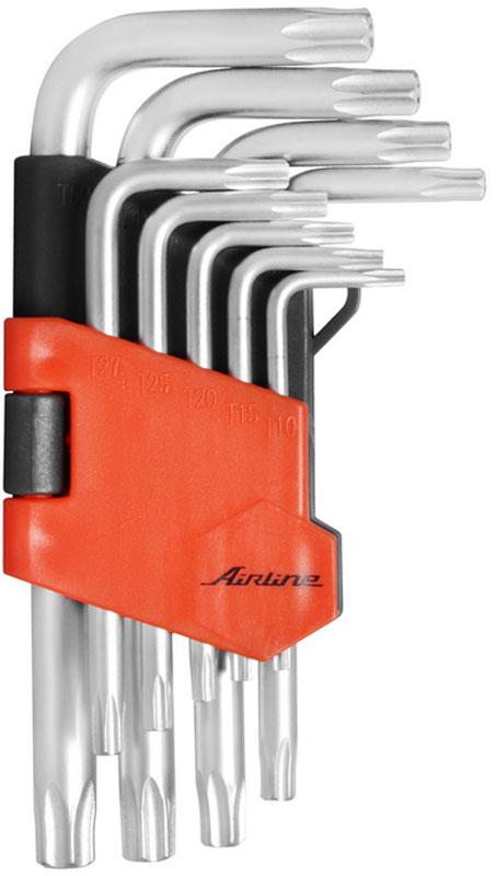 Набор ключей Airline Torx, Г-образных, с отверстием, коротких, 9 предметовAT-9-23Набор Airline Torx состоит из 9 коротких Г-образных ключей с отверстием выполненных из хром-ванадиевой стали. Ключи в процессе производства подвергается закалке и отпуску и имеют финишное покрытие - хромирование.Удобный пластиковый подвес гарантирует порядок на рабочем месте.В набор входят ключи: Т10, Т15, Т20, Т25, Т27, Т30, Т40, Т45, Т50.