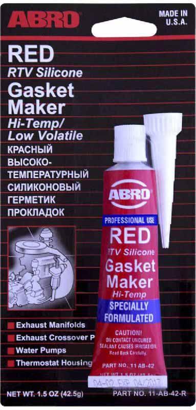 Герметик прокладок Abro, цвет: красный, 42,5 гRC-100BWCМногоцелевые герметики прокладок Blue, Red, Clear, Black предназначены для ремонта или замены почти всех встречающихся в автомобиле прокладок. Герметик ABRO принимает любую форму и успешно выдерживает сжатие, растяжение и сдвиг; совершенно не разрушается под действием автомобильных масел, воды и антифриза. Также герметик ABRO обладает высокой стойкостью к бензину и тормозной жидкости. Более мягкий герметик прокладок Blue (синий), также как Clear и Black (прозрачный, черный), предназначен для применения при температурах до 260°С, в то время как герметик прокладок Red (красного цвета) разработан для более высоких температур до 343°С.