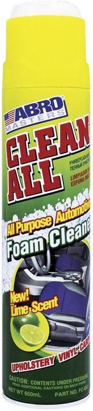 Очиститель-спрей Abro Masters, универсальный, с ароматом лайма, 650 млSVC-300Эффективно очищает моющиеся и окрашенные поверхности.Сильнодействующая активная пена глубоко проникает в структуру ткани и удаляет пятна. Восстанавливает первоначальный внешний вид виниловых, тканевых, ковровых, резиновых, хромированных и никелированных покрытий.В АВТОМОБИЛЕ МОЖЕТ ПРИМЕНЯТЬСЯ ДЛЯ:— тканевой и виниловой обивки;— ковриков;— напольных и хромовых покрытий.Не применяйте для очистки стекол или наружного лакокрасочного покрытия автомобиля. В случае попадания всегда вытирайте сухой тканью до высыхания.В БЫТУ МОЖЕТ ПРИМЕНЯТЬСЯ ДЛЯ:— фарфоровой и керамической плитки;— керамогранитного покрытия;— хромированных ручек;— вентиляторов;— окрашенных стен;— деревянных и металлических поверхностей;— обивки мебели и ковровых покрытий.
