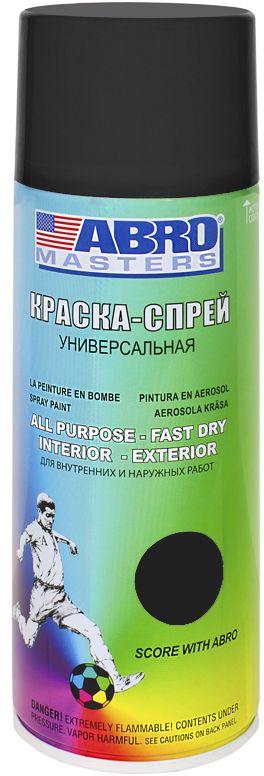 Краска-спрей Abro Masters, цвет: черный матовый98298130Краска-спрей применяется для окраски металлических и деревянных поверхностей различных предметов. Используется как для внутренних (домашних), так и наружных работ. После высыхания не токсична.