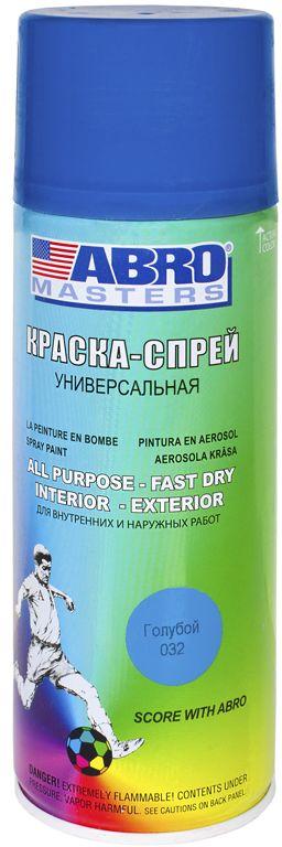 Краска-спрей Abro Masters, цвет: голубойSP-032-AMКраска-спрей применяется для окраски металлических и деревянных поверхностей различных предметов. Используется как для внутренних (домашних), так и наружных работ. После высыхания не токсична.