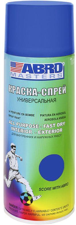 Краска-спрей Abro Masters, цвет: синийK100Краска-спрей применяется для окраски металлических и деревянных поверхностей различных предметов. Используется как для внутренних (домашних), так и наружных работ. После высыхания не токсична.