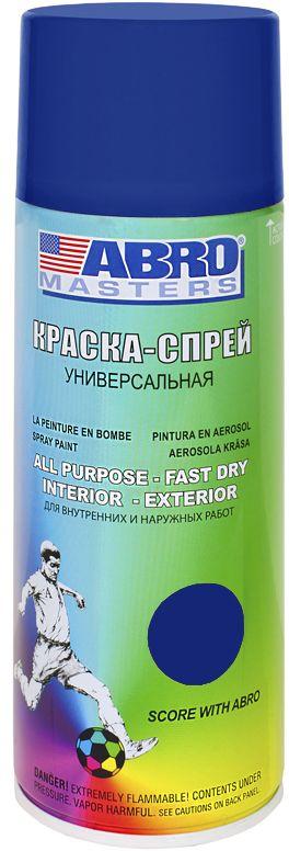 Краска-спрей Abro Masters, цвет: темно-синийSP-038-AMКраска-спрей применяется для окраски металлических и деревянных поверхностей различных предметов. Используется как для внутренних (домашних), так и наружных работ. После высыхания не токсична.