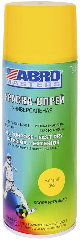 Краска-спрей Abro Masters, цвет: желтый790009Краска-спрей применяется для окраски металлических и деревянных поверхностей различных предметов. Используется как для внутренних (домашних), так и наружных работ. После высыхания не токсична.