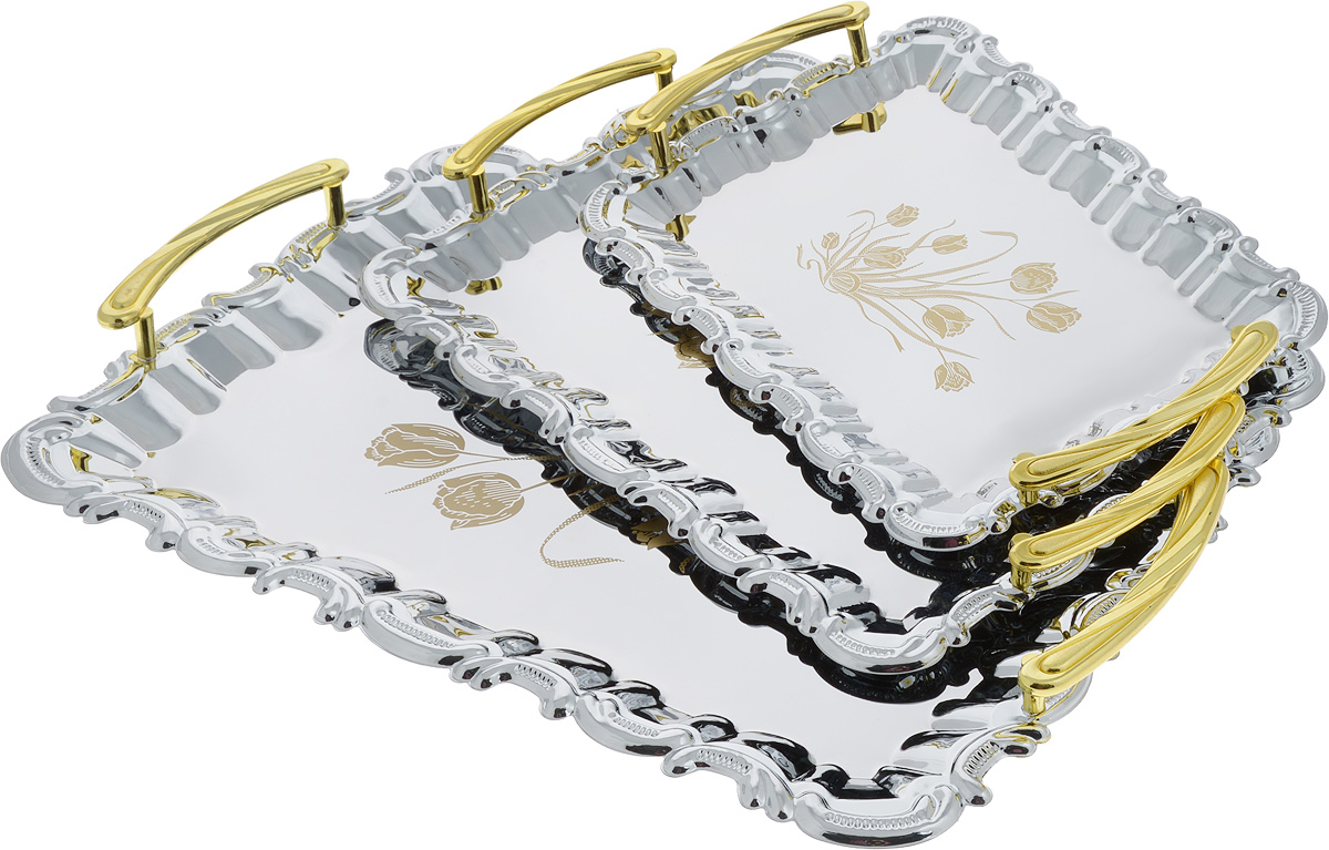Набор подносов Mayer & Boch, 3 шт. 3676VT-1520(SR)Набор Mayer & Boch состоит из трех сервировочных подносов разного размера, изготовленных из нержавеющей стали с зеркальной полировкой. Подносы имеют прямоугольную форму и ручки золотистого цвета. Изделия оформлены изображение цветов и изящными краями. Подносы отлично подойдут для подачи рыбных блюд, а традиционные блюда будут выглядеть на них более аппетитно.Современный стильный дизайн и функциональность позволят подносам занять достойное место на вашей кухне. Нельзя мыть в посудомоечной машине.Размер маленького подноса: 29 х 19 х 3 см. Размер среднего подноса: 34,5 х 22,5 х 3,5 см. Размер большого подноса: 43 х 28,5 х 3,5 см.