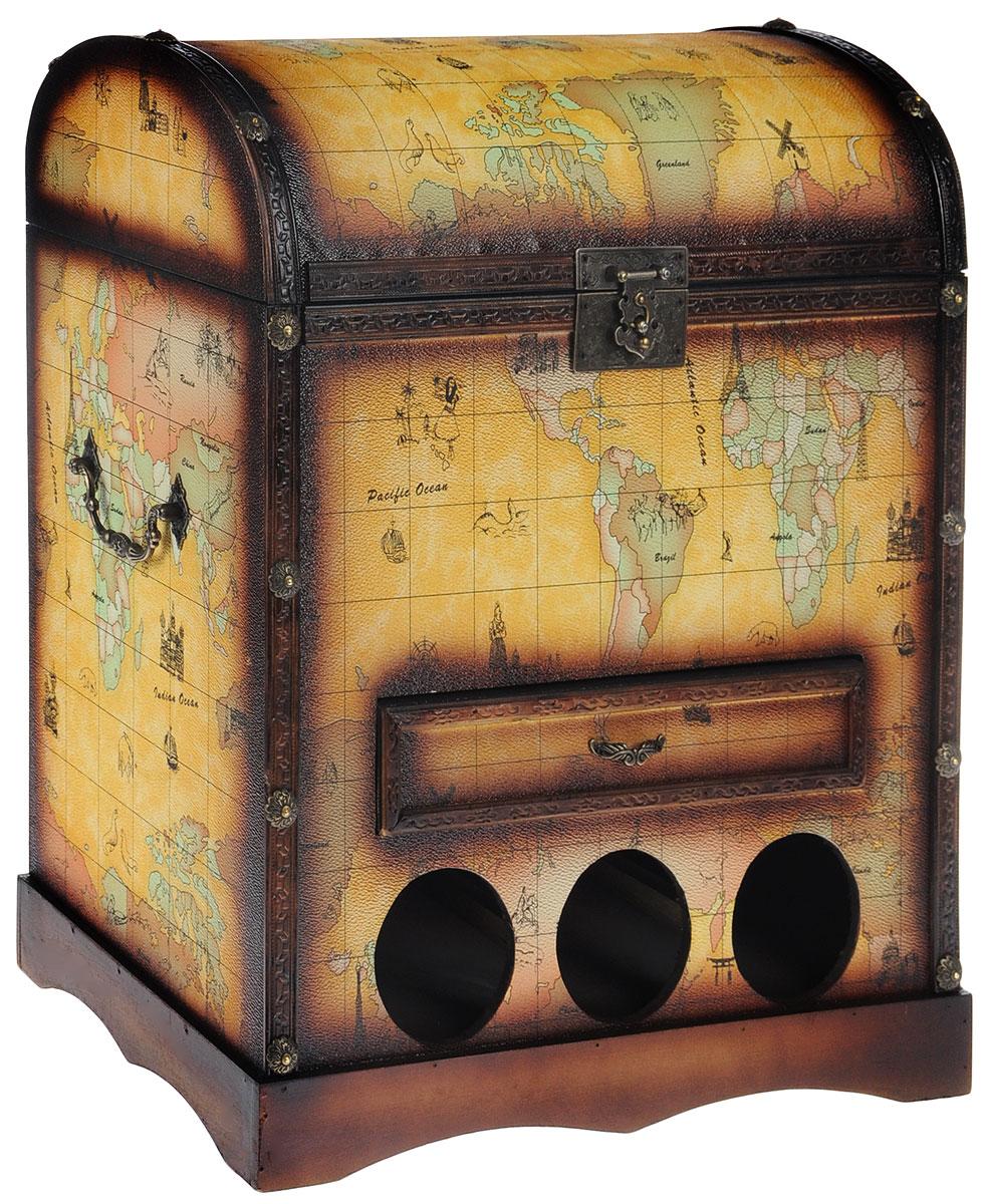Сундук-бар Roura Decoracion, 44 х 26 х 50 см580792_ голубойСундук-бар Roura Decoracion изготовлен из прочного дерева в виде старинного сундука, дополнен металлическими резными ручками и декоративными элементами. Внутренняя поверхность отделана бархатистым текстилем. В сундуке предусмотрено основное отделение, закрывающееся на курковый замок, и выдвижной ящик, который отлично подойдет для хранения небольших стопок, закусок и всевозможных аксессуаров. Внизу предусмотрены специальные отделения для хранения винных бутылок. Таким образом, сундук-бар позволяет компактно разместить вашу алкогольную коллекцию и роскошно презентовать ее своим гостям. Сундук-бар оригинально дополнит интерьер современной квартиры. Он не только внесет новый штрих в привычную обстановку, но и позволит вдохнуть некий шарм, возродить романтику путешествий, создать удивительную атмосферу уютной роскоши.