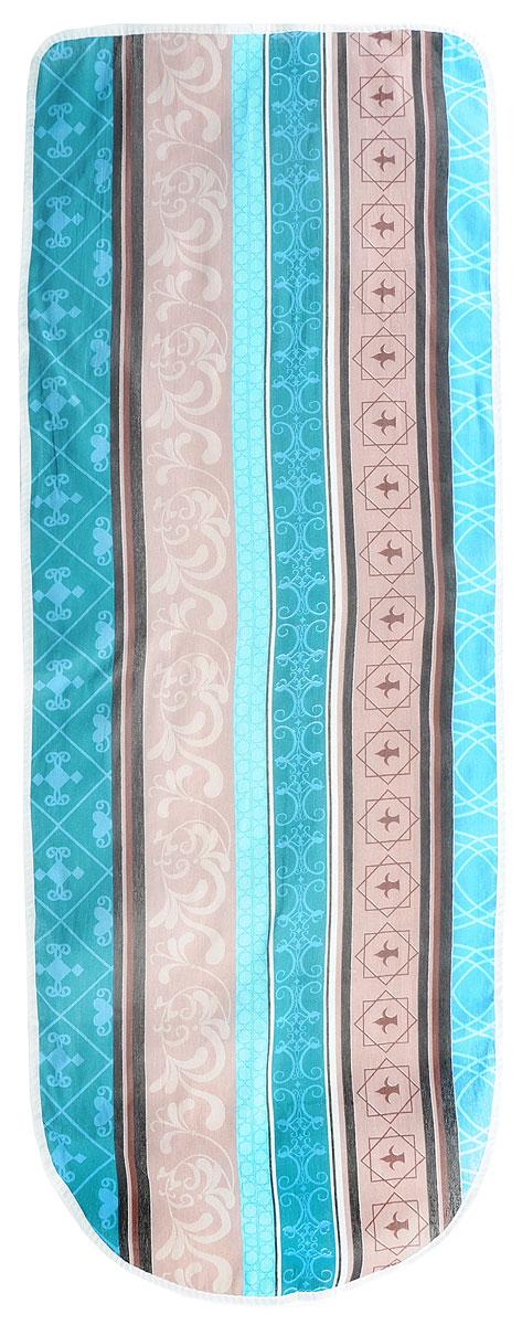 """Чехол для гладильной доски Eva """"Полосы"""", цвет: коричневый, бирюзовый, голубой, 125 х 47 см"""