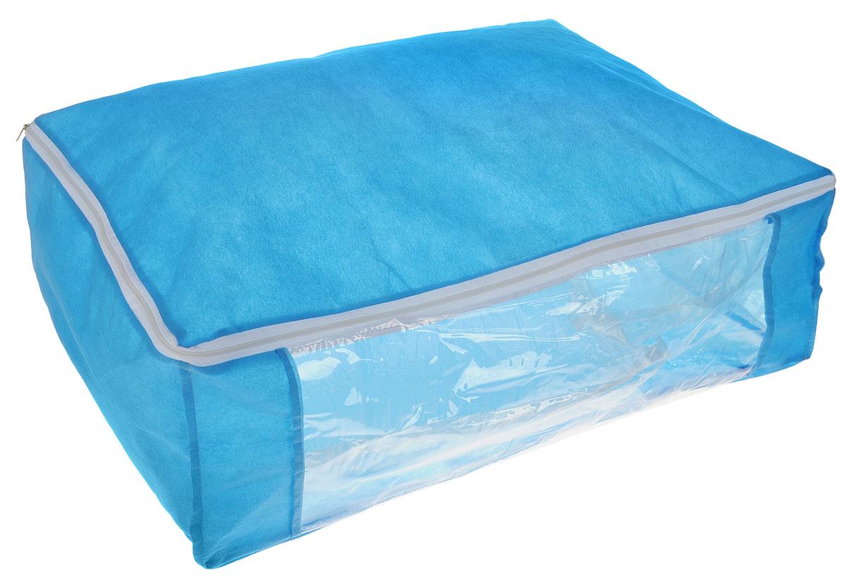 Чехол для хранения одеял Eva, цвет: синий, 60 х 40 х 20 см. Е526113MЧехол Eva изготовлен из ППР и ПВХ и предназначен для хранения одеял. Нетканый материал чехла пропускает воздух, что позволяет изделиям дышать. Это особенно необходимо для изделий из натуральных материалов. Благодаря такому чехлу, вещи не впитывают посторонние запахи. Застегивается на застежку-молнию.Материал: ППР, ПВХ.