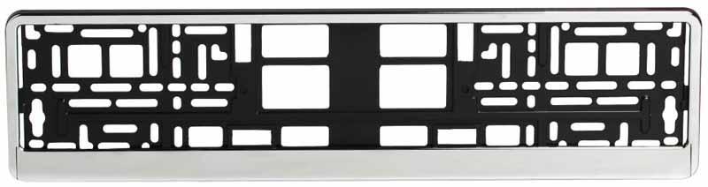 Рамка под номерной знак Airline Хром300159Рамка Airline Лето, предназначенная для номерного знака, является не только необходимым элементом корпуса автомобиля, но и стильным аксессуаром. Она изготовлена из особо прочного хромированного материала, который не подвержен резким перепадам температур и легко очищается от загрязнений. Рамка имеет стандартный размер под номерной знак.Преимущества: - Морозостойкий материал; - Простая установка; - Российско-европейский размер; - Соответствует требованиям ГИБДД.