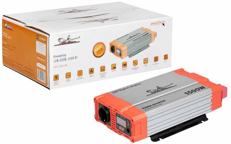 Инвертор автомобильный Airline, 12В-220В, 1500 Вт. API-1500-085023Преобразователь напряжения Airline с USB-портом используется для трансформации постоянного напряжения гнезда прикуривателя 12В в переменное напряжение 220В для возможности подсоединения разнообразных электроприборов, таких как ноутбук, коммуникатор, мини-телевизор и других устройств.Помимо стандартной розетки напряжением 220В, конструкция модели предусматривает USB-разъем для подключения различных электронных устройств. Ударопрочный корпус гарантирует высокую защиту прибора.Это делает автомобиль более комфортным, особенно в случае внепланового отключения электроэнергии дома, на даче или на отдыхе за городом.Ударопрочный корпус гарантирует высокую защиту прибора.Входное напряжение: 12В -/140А.Выходное напряжение: 220В/50Гц/ 6.8А.Мощность (длительная) - 1500 Вт.Мощность в пике - 3000 Вт.Эффективность - 90%.Выход USB - 5В/1А.Потребление тока без нагрузки - 350мА.