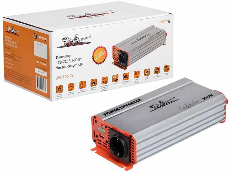 Инвертор автомобильный Airline, 12В-220В, 500 Вт. API-600-05API-600-05Преобразователь напряжения Airline с USB-портом используется для трансформации постоянного напряжения гнезда прикуривателя 12В в переменное напряжение 220В, а также длительной мощностью в 500Вт для возможности подсоединения разнообразных электроприборов, таких как ноутбук, коммуникатор, мини-телевизор и других устройств.Помимо стандартной розетки напряжением 220В, конструкция модели предусматривает USB-разъем для подключения различных электронных устройств. Ударопрочный корпус гарантирует высокую защиту прибора.Это делает автомобиль более комфортным, особенно в случае внепланового отключения электроэнергии дома, на даче или на отдыхе за городом. Ударопрочный корпус гарантирует высокую защиту прибора.Преимущества:- Алюминиевый корпус;- Встроенное гнездо USB; - Чистый синус на выходе;- Автоматическое восстановление после срабатывания защиты;- Наличие всех необходимых защит;- Встроенный предохранитель;Входное напряжение - 12В /46А.Выходное напряжение - 220В/50Гц / 2,3А.Мощность (длительная) - 500 Вт.Мощность в пике - 1000 Вт.Форма выходного сигнала - чистая синусоида.Предохранитель - 2x40 A.Потребление тока без нагрузки - Эффективность - 90%.Нижний порог входного напряжения - 10 Вольт.Верхний порог входного напряжения - 14,8 Вольт.Выход USB - 5В – 1А.Срок гарантии: 1 год.