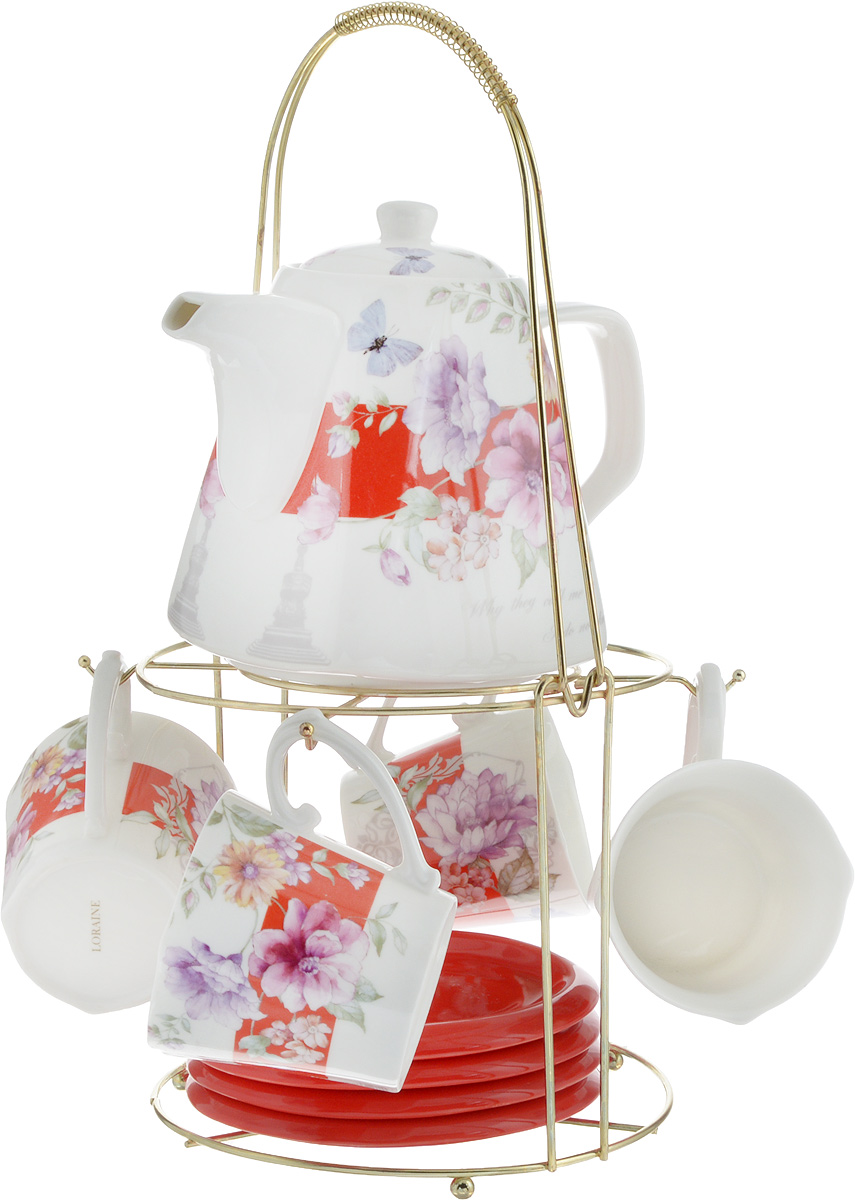 Набор чайный Loraine, на подставке, 10 предметов. 24732115510Чайный набор Loraine состоит из 4 чашек, 4 блюдец, заварочного чайника и подставки. Посуда изготовлена из качественной глазурованной керамики и оформлена изображением цветов. Блюдца и чашки имеют необычную фигурную форму. Все предметы располагаются на удобной металлической подставке с ручкой.Элегантный дизайн набора придется по вкусу и ценителям классики, и тем, кто предпочитает современный стиль. Он настроит на позитивный лад и подарит хорошее настроение с самого утра. Чайный набор Loraine идеально подойдет для сервировки стола и станет отличным подарком к любому празднику. Можно использовать в СВЧ и мыть в посудомоечной машине. Объем чашки: 250 мл. Размеры чашки (по верхнему краю): 8,5 х 8,2 см. Высота чашки: 7,5 см. Диаметр блюдца: 14 см. Высота блюдца: 1,5 см.Объем чайника: 1,1 л. Размер чайника (без учета ручки и носика): 13 х 13 х 13 см. Размер подставки: 18 х 18 х 37 см.