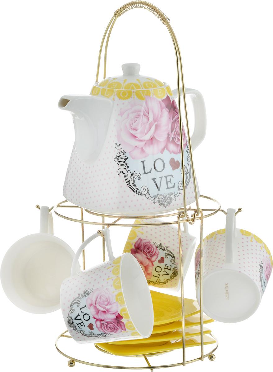 Набор чайный Loraine, на подставке, 10 предметов. 24731VT-1520(SR)Чайный набор Loraine состоит из 4 чашек, 4 блюдец, заварочного чайника и подставки. Посуда изготовлена из качественной глазурованной керамики и оформлена изображением цветов. Блюдца и чашки имеют необычную фигурную форму. Все предметы располагаются на удобной металлической подставке с ручкой.Элегантный дизайн набора придется по вкусу и ценителям классики, и тем, кто предпочитает современный стиль. Он настроит на позитивный лад и подарит хорошее настроение с самого утра. Чайный набор Loraine идеально подойдет для сервировки стола и станет отличным подарком к любому празднику. Можно использовать в СВЧ и мыть в посудомоечной машине. Объем чашки: 250 мл. Размеры чашки (по верхнему краю): 8,5 х 8,2 см. Высота чашки: 7,5 см. Диаметр блюдца: 14 см. Высота блюдца: 1,5 см.Объем чайника: 1,1 л. Размер чайника (без учета ручки и носика): 13 х 13 х 13 см. Размер подставки: 18 х 18 х 37 см.