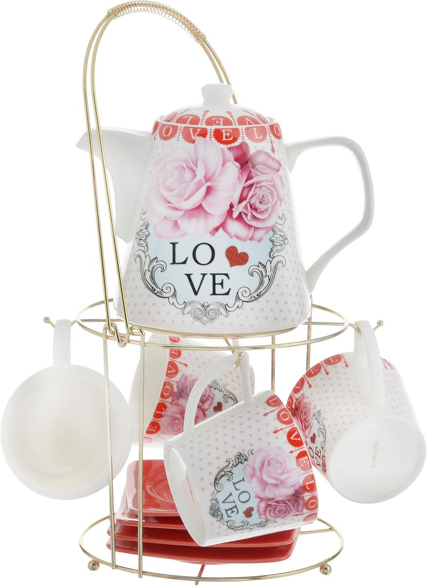 Набор чайный Loraine, на подставке, 10 предметов. 2472824728Чайный набор Loraine состоит из 4 чашек, 4 блюдец, заварочного чайника и подставки. Посуда изготовлена из качественной глазурованной керамики и оформлена изображением цветов. Блюдца и чашки имеют необычную фигурную форму. Все предметы располагаются на удобной металлической подставке с ручкой.Элегантный дизайн набора придется по вкусу и ценителям классики, и тем, кто предпочитает современный стиль. Он настроит на позитивный лад и подарит хорошее настроение с самого утра. Чайный набор Loraine идеально подойдет для сервировки стола и станет отличным подарком к любому празднику. Можно использовать в СВЧ и мыть в посудомоечной машине. Объем чашки: 250 мл. Размеры чашки (по верхнему краю): 8,5 х 8,2 см. Высота чашки: 7,5 см. Диаметр блюдца: 14 см. Высота блюдца: 1,5 см.Объем чайника: 1,1 л. Размер чайника (без учета ручки и носика): 13 х 13 х 13 см. Размер подставки: 18 х 18 х 37 см.