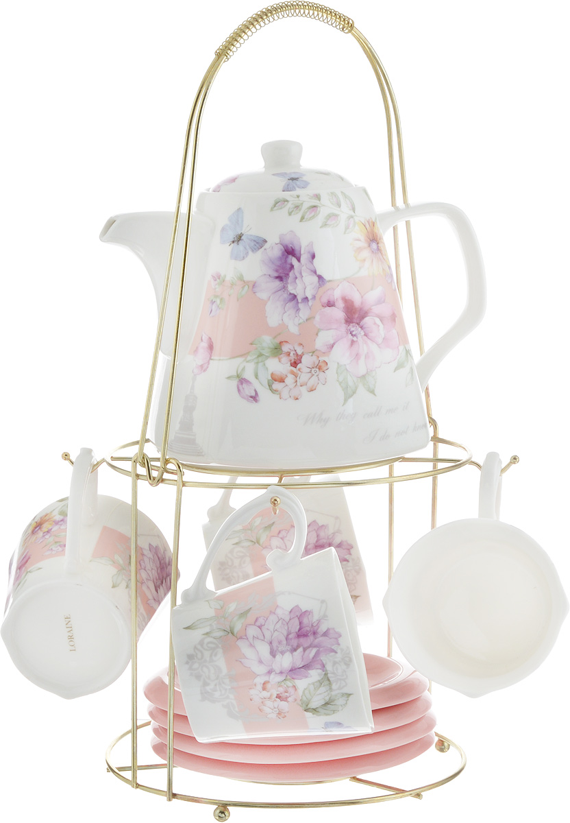 Набор чайный Loraine, на подставке, 10 предметов. 24733115510Чайный набор Loraine состоит из 4 чашек, 4 блюдец, заварочного чайника и подставки. Посуда изготовлена из качественной глазурованной керамики и оформлена изображением цветов. Блюдца и чашки имеют необычную фигурную форму. Все предметы располагаются на удобной металлической подставке с ручкой.Элегантный дизайн набора придется по вкусу и ценителям классики, и тем, кто предпочитает современный стиль. Он настроит на позитивный лад и подарит хорошее настроение с самого утра. Чайный набор Loraine идеально подойдет для сервировки стола и станет отличным подарком к любому празднику. Можно использовать в СВЧ и мыть в посудомоечной машине. Объем чашки: 250 мл. Размеры чашки (по верхнему краю): 8,5 х 8,2 см. Высота чашки: 7,5 см. Диаметр блюдца: 14 см. Высота блюдца: 1,5 см.Объем чайника: 1,1 л. Размер чайника (без учета ручки и носика): 13 х 13 х 13 см. Размер подставки: 18 х 18 х 37 см.