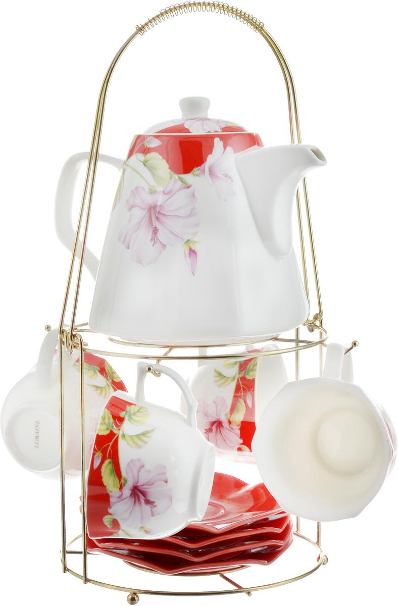 Набор чайный Loraine, на подставке, 10 предметов. 2473824738Чайный набор Loraine состоит из 4 чашек, 4 блюдец, заварочного чайника и подставки. Посуда изготовлена из качественной глазурованной керамики и оформлена изображением цветов. Блюдца и чашки имеют необычную фигурную форму. Все предметы располагаются на удобной металлической подставке с ручкой. Элегантный дизайн набора придется по вкусу и ценителям классики, и тем, кто предпочитает современный стиль. Он настроит на позитивный лад и подарит хорошее настроение с самого утра. Чайный набор Loraine идеально подойдет для сервировки стола и станет отличным подарком к любому празднику. Можно использовать в СВЧ и мыть в посудомоечной машине. Объем чашки: 250 мл. Размеры чашки (по верхнему краю): 8,7 х 9 см. Высота чашки: 6,2 см. Диаметр блюдца: 14 см. Высота блюдца: 1,5 см.Объем чайника: 1,1 л. Размер чайника (без учета ручки и носика): 13 х 13 х 13 см. Размер подставки: 18 х 18 х 37 см.