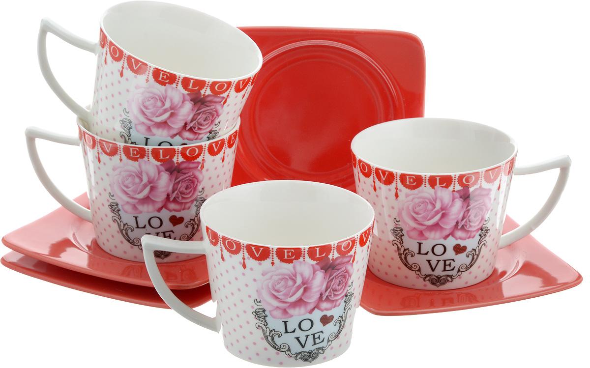Набор чайный Loraine, 8 предметов. 24696115510Чайный набор Loraine, выполненный из керамики, состоит из 4 чашек и 4 блюдец. Чашка оформлена ярким изображением и надписью Love. Изящный дизайн и красочность оформления придутся по вкусу и ценителям классики, и тем, кто предпочитает современный стиль.Чайный набор - идеальный и необходимый подарок для вашего дома и для ваших друзей в праздники, юбилеи и торжества! Он также станет отличным корпоративным подарком и украшением любой кухни. Набор упакован в подарочную коробку из плотного цветного картона. Внутренняя часть коробки задрапирована белым атласом.Диаметр чашки: 8,5 см.Высота чашки: 6,5 см.Объем чашки: 230 мл. Размеры блюдца: 12 х 12 х 1,5 см.