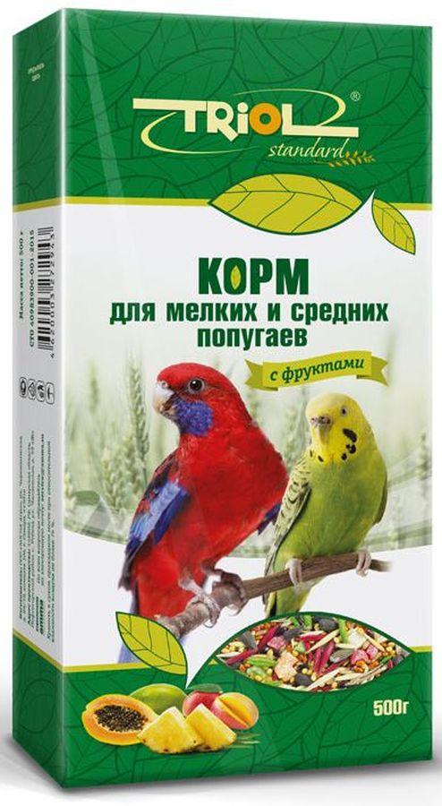 Корм Тriol Standard для мелких и средних попугаев, с фруктами, 500 г0120710Универсальная смесь из отборных зерновых культур для ежедневного кормления мелких и средних попугаев с фруктами. Корм содержит любимые пернатыми зерна и семена, сбалансирован по микро- и макроэлементам и обогащен витаминами, необходимыми для правильного развития пернатых питомцев. Основной корм для попугаев - это уникальный коктейль из зерновых и злаковых культур, а так же натуральных сушеных трав, богатых на масла семян и орехов от компании Triol. Данный продукт представляет собой полнорационный корм для средних и мелких попугаев, он содержит оптимальное количество растительных белков и клетчатки для обеспечения организма птицы жизнедеятельностью. Кроме того зерна насыщены минеральными веществами и витаминами, среди которых фосфор, минеральные соли и жиры, способствующие улучшению работы пищеварительной системы и улучшая общий обмен веществ. Так же в продукте содержаться растительные масла и экстракты трав, которые поспособствуют улучшению работы пищеварительной системы и сохранению яркого перьевого окраса птицы. Данный продукт отлично подходит для смешивания с другими видами кормов, благодаря чему вы сможете составить идеальный питательный баланс для своей птицы. Позаботьтесь о здоровье и счастье ваших птиц с уникальными кормами от компании Triol! Правильно сбалансированный корм поможет вам вырастить здоровых и веселых питомцев. Продукт не содержит искусственных добавок и красителей.Состав: просо белое, просо красное, овес, семена подсолнечника, семена конопли, витамины, семена гречихи, горох, кукуруза, арахис, попкорн, семена луговых трав.