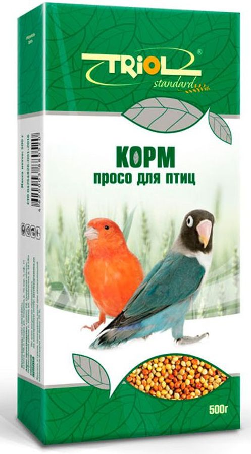 Корм Тriol Standard. Просо для птиц, 500 г0120710Просо - незаменимо для здорового питания птиц. Такой корм обогащен витаминами, необходимыми для правильного развития пернатых питомцев.Просо для птиц - это уникальный коктейль из зерен проса от компании Triol, тщательно отобранных и высушенных на солнце. Данный продукт представляет собой полнорационный корм для птиц, таких как канарейки и волнистые попугайчики, он содержит оптимальное количество растительных белков и клетчатки для обеспечения организма птицы жизнедеятельностью. Кроме того зерна проса насыщены минеральными веществами и витаминами, среди которых фосфор, минеральные соли и жиры, способствующие улучшению работы пищеварительной системы и улучшая общий обмен веществ. Данный продукт отлично подходит для смешивания с другими видами кормов, благодаря чему вы сможете составить идеальный питательный баланс для своей птицы. Просо долго храниться и очень стойкое к вредителям. Позаботьтесь о здоровье и счастье ваших птиц с уникальными кормами от компании Triol!