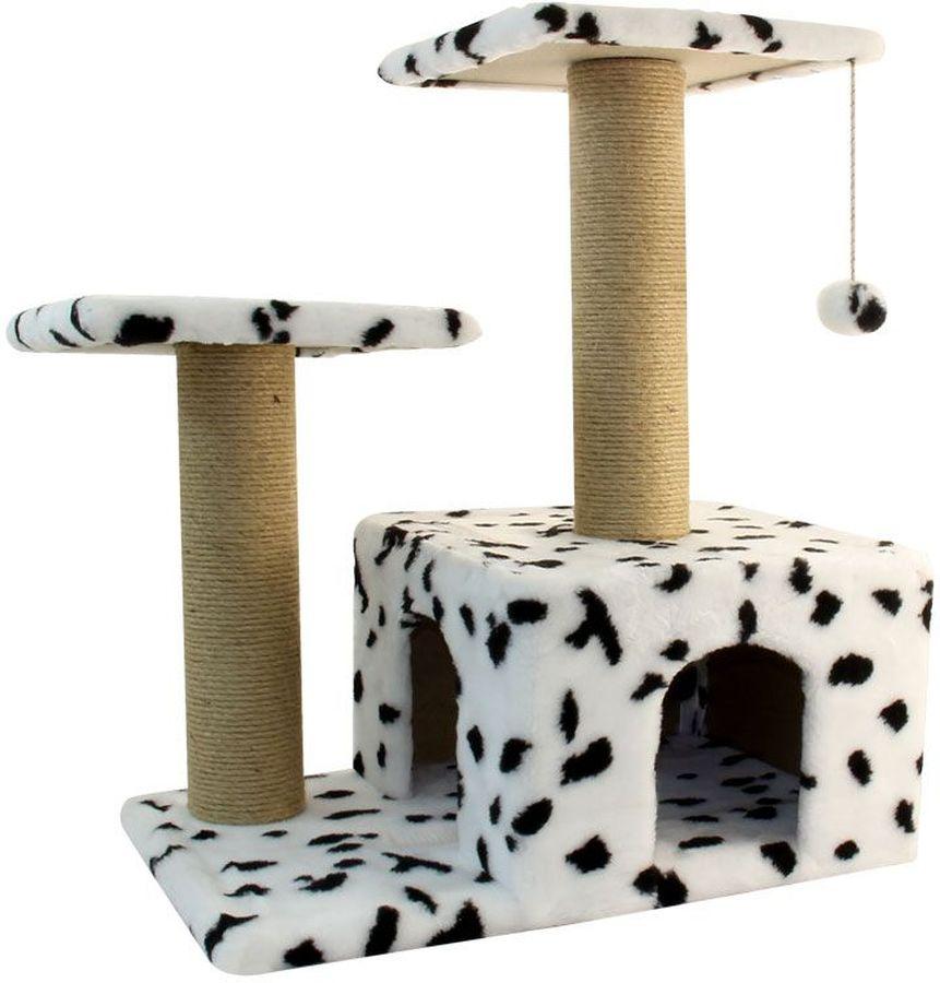 Игровой комплекс Гамма, для кошек, двухуровневый, цвет: белый, черный, бежевый, 57 х 35 х 77 cм0120710Игровой комплекс Гамма - станет любимым местом ваших питомцев. Комплекс состоит из двух джутовых столбиков, каждый диаметром 80 мм, с двумя разноуровневыми платформами (300 х 300мм). Дополняет изделие уютный домик с просторным входом и мягкая игрушка на резинке. Размер основания: 570 х 350 мм.