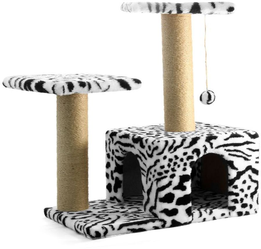 Игровой комплекс Гамма, для кошек, двухуровневый, цвет: белый, черный, 57 х 35 х 77 см0120710Игровой комплекс Гамма - станет любимым местом ваших питомцев. Комплекс состоит из двух джутовых столбиков, каждый диаметром 80 мм, с двумя разноуровневыми платформами (300 х 300мм). Дополняет изделие уютный домик с просторным входом и мягкая игрушка на резинке. Размер основания: 570 х 350 мм.
