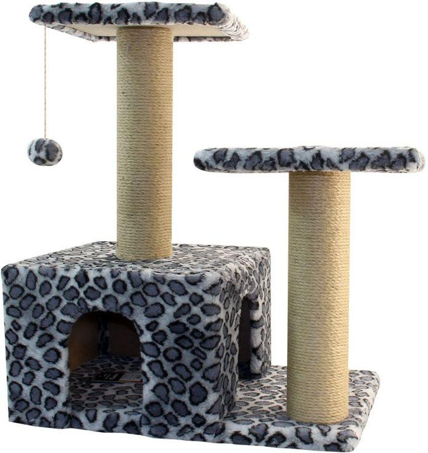 Игровой комплекс Гамма, для кошек, двухуровневый, цвет: серый, черный, 57 х 35 х 77 см0120710Игровой комплекс Гамма - станет любимым местом ваших питомцев. Комплекс состоит из двух джутовых столбиков, каждый диаметром 80 мм, с двумя разноуровневыми платформами (300 х 300мм). Дополняет изделие уютный домик с просторным входом и мягкая игрушка на резинке. Размер основания: 570 х 350 мм.