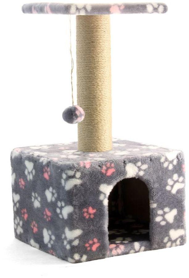 Игровой комплекс Гамма для кошек, квадратный, цвет: серый, розовый, белый, 35 х 35 х 77 см0120710Игровой комплекс Гамма- универсальный комплекс с домиком и удобной площадкой - это лучший выбор для вашей кошки. Просторный домик (350 х 350 мм) с комфортным входом послужит отличным укрытием, а площадка наверху (300 х 300 мм) - прекрасным местом для отдыха и наблюдения. Джутовый столбик ( 80 х 380 мм) отлично подойдет для заточки коготков, а мягкая игрушка станет дополнительным бонусом.